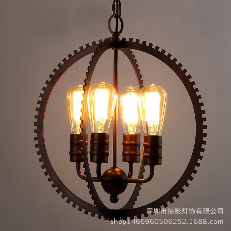 loft vintage black iron gear globe pendant light candles corridors aisles bars restaurants hanging lamp E27 цена 2017