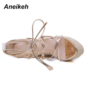 Image 4 - Aneikeh Leisure PVC Sandal Women Transparent Sandals Lace Up Wedges High Heels Thin Belt Solid Black Gold Party Daily Size 35 42