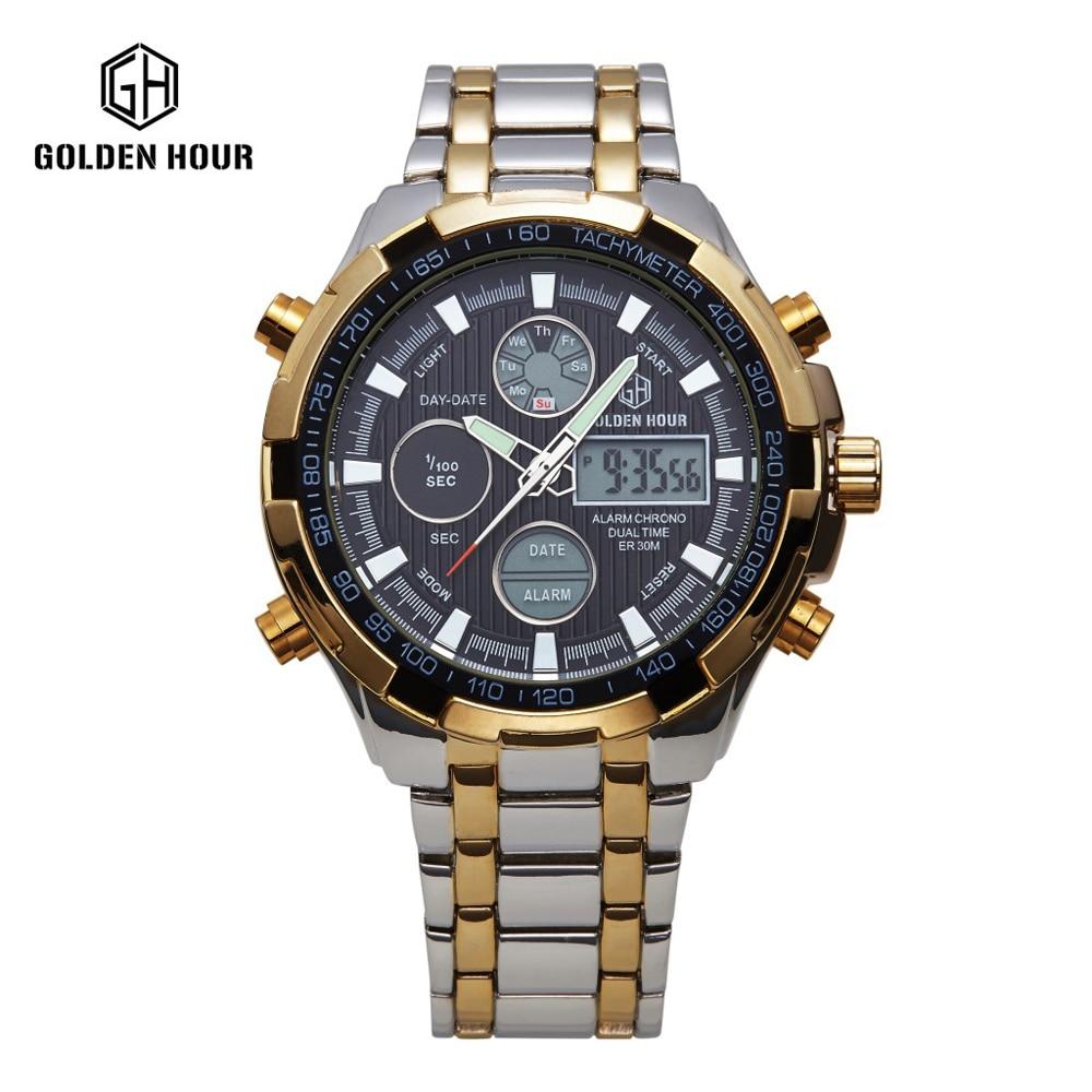 65f3e6392b8c Acero lleno de Plata de Oro Relojes Para Hombre Deporte Militar Reloj Led  Digital Fecha Horas Back Light Reloj Relogio masculino en Relojes de cuarzo  de ...