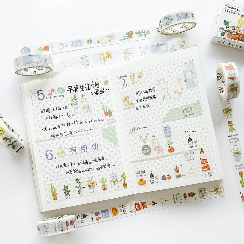 1.5cm Bullet Journal Summer Sun Rain Sweet Washi Tape Adhesive Tape DIY Scrapbooking Sticker Label Craft Masking Tape