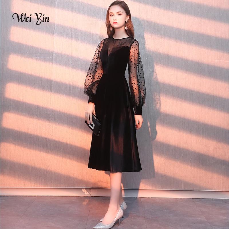 weiyin Long Sleeves Velour   Evening     Dress   Party Elegant Gowns Tulle A Line Vestidos De Festa Vestido Longo Robe De Soiree WY1167