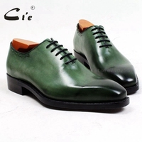 cie square toe patina green whole cut full grain calf leather handmade men shoe goodyear welted leather bottom breathable ox495