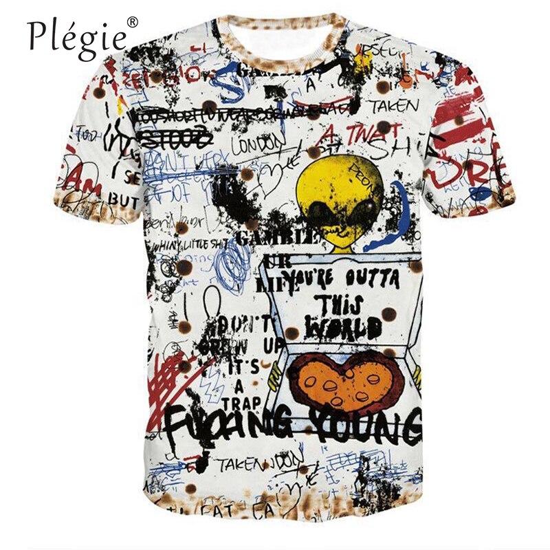 Мужская футболка в стиле хип-хоп, футболка с коротким рукавом и принтом «граффити», летняя уличная одежда для пар