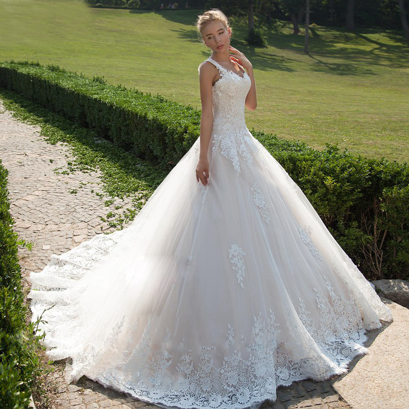 Arabic Wedding Dresses Princess Ball Gown Lace Applique Turkey Bridal Gowns Ribbon Sash Tulle Vestido De Noiva Custom Made