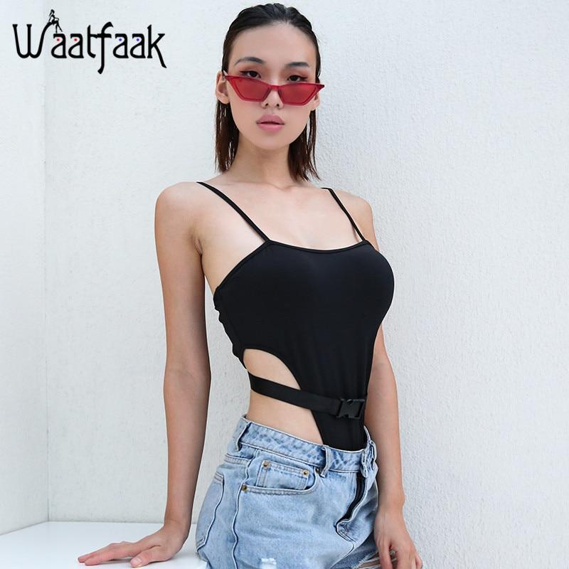 Waatfaak Sleeveless Bodysuit Women Straps Buckle Belt Hollow Out Sexy Bodysuit Black Bodycon Backless Jumpsuit Short Summer 2018
