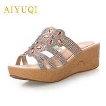 AIYUQI 2019 summer new outer wear genuine leather women slippers flat high-heeled platform casual female  shoes