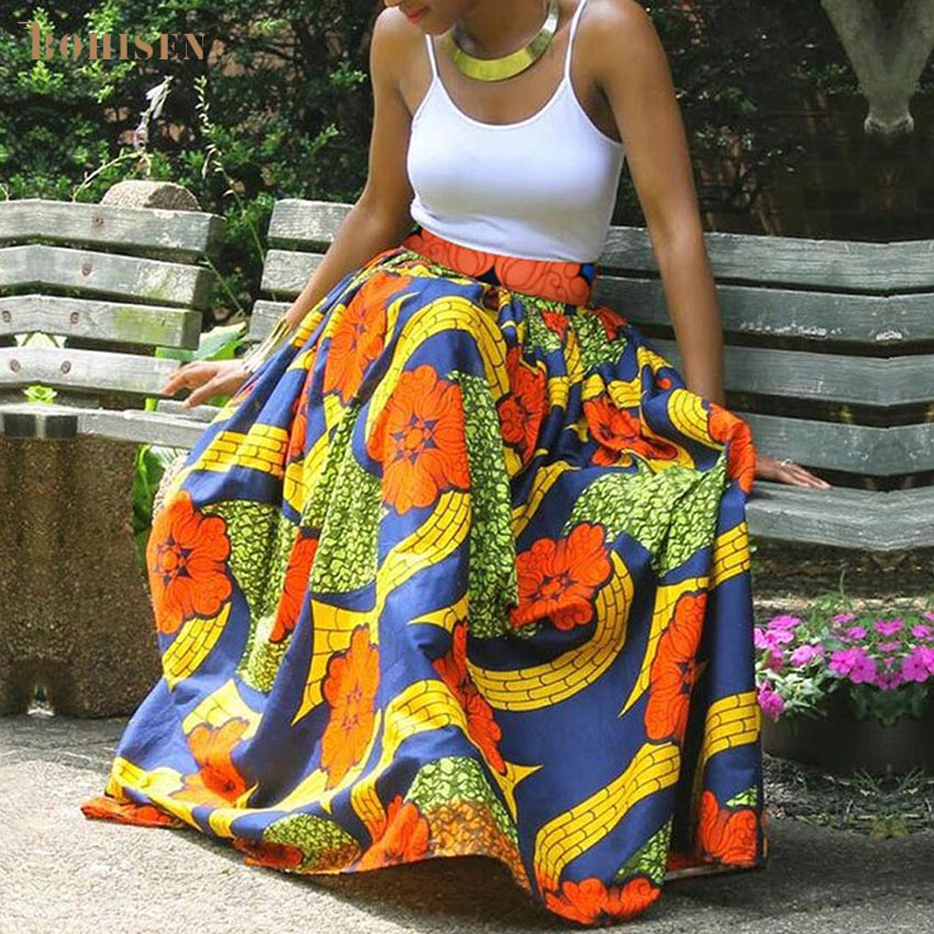 BOHISEN African Print Women Skirts Fashion Bazin Dashiki Skirts African Dresses For Women Femme Clothes Print Dresses