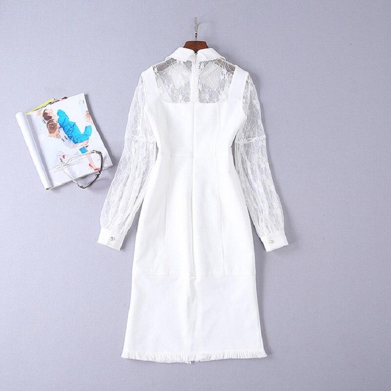 Poitrine Robes Vêtements Manches Femmes Piste Partie Hiver Designer Luxe Noël Robe Dames 2018 De Unique Blanc Perle Dentelle OXwkZuPiT