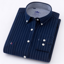 New Arrived 100% Cotton Long Sleeve Shirt Men Plaid Shirts / Striped shirt plus size 5XL Oxford Mens Dress Camisa Social