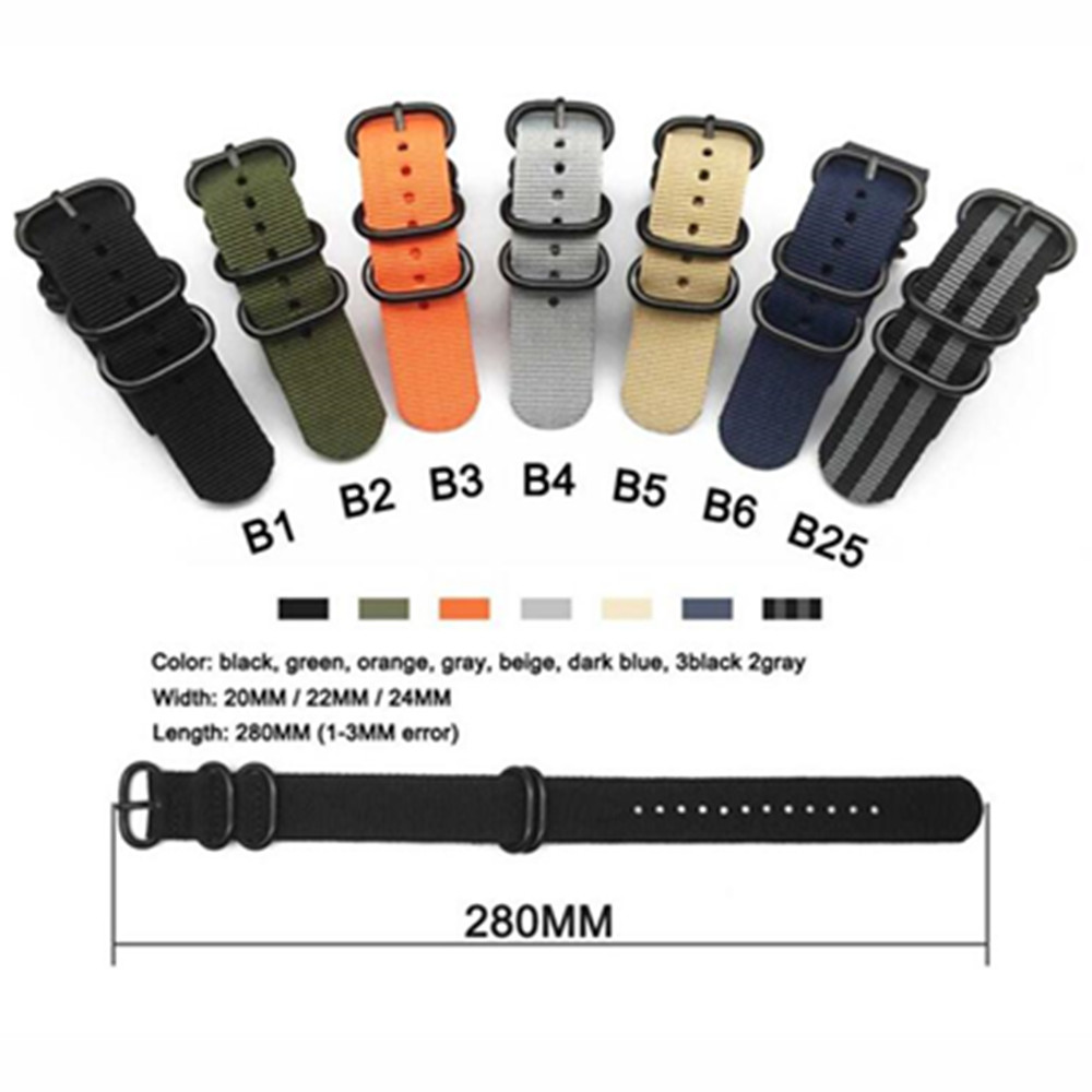 Heavy Duty Nylon NATO Watchband Strap 18mm 20mm 22mm 24mm Watch Band Zulu Strap Stainless Steel Ring Buckle Canvas Army