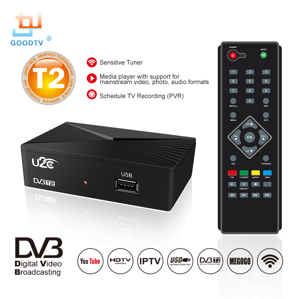 U2C HDMI TV Receiver Tuner Dvb T2 Wifi Usb2.0 Full HD 1080P Dvb-t2 Tuner TV Box Dvbt2 Built-in Russian Manual European Power Sup image