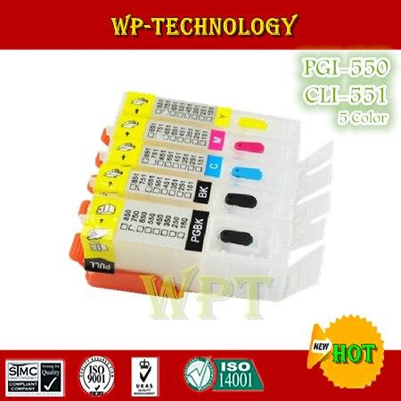 Пустой Запасной картридж для PGI550 CLI551, костюм для Canon PIXMA IP7250 MG5450 MX925 MX725 MG6450, 5 видов цветов с чипами ARC