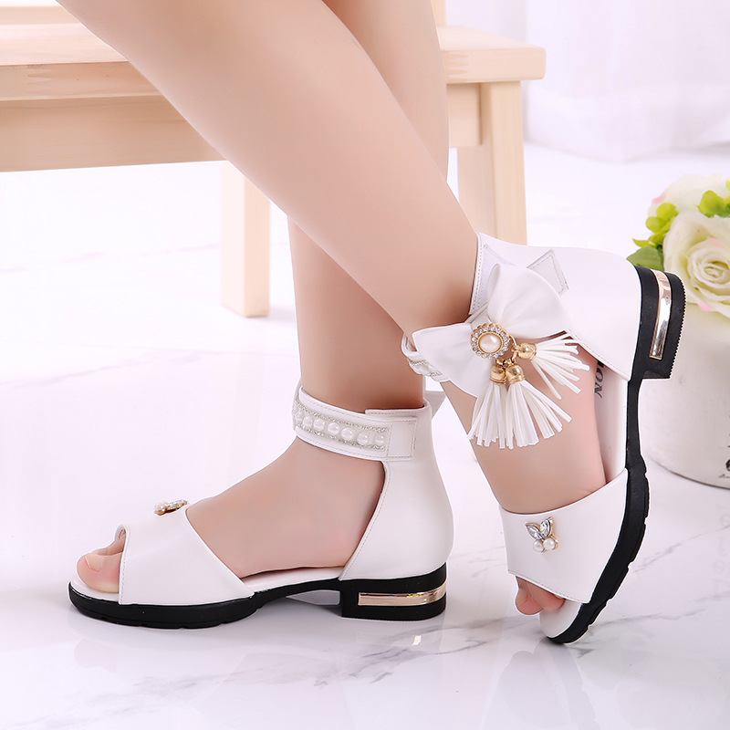 Kids Sandal Girls Summer Shoes Children High Heels For Girl Kids Tassel Beading Princess Shoes 4 5 6 7 8 9 10 11 12 13 14 Years