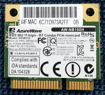 aw nb100h - AzureWave AW-NB097H AW-NB100H AW-NB126H AR9485 AR3012 AR5B225 300Mbps   Half  Mini  PCI-Express BT4.0  Wlan Wireless Wifi Card