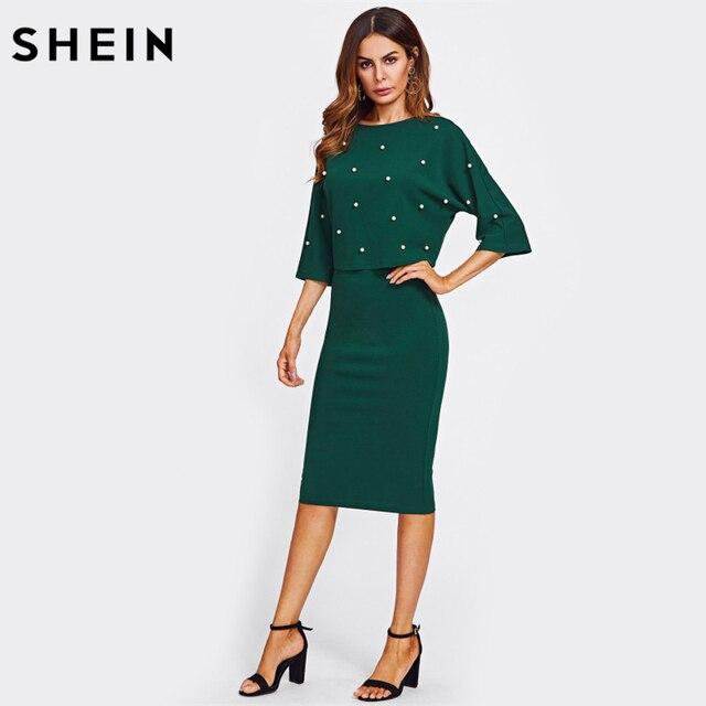 SHEIN Pearl Embellished Autumn Dress Elegant Womens Dresses Solid Green Half Sleeve Knee Length Sheath Two Piece 3