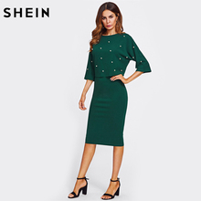 SHEIN Pearl Embellished Autumn Dress Elegant Womens Dresses Solid Green Half Sleeve Knee Length Sheath Two Piece