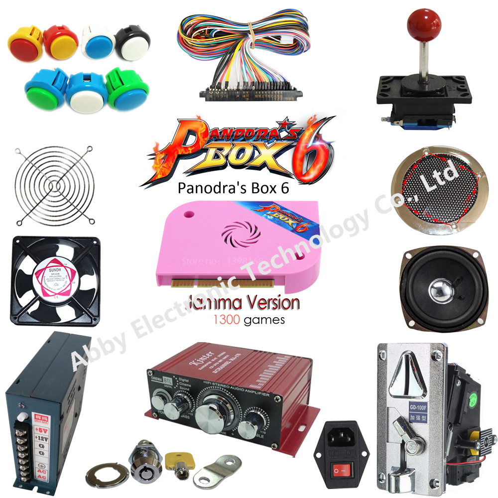 5 kinds joysticks arcade kits with 1300 in 1 Jamma Arcade Game cartridge /jamma Multi game board support CRT and LCD for