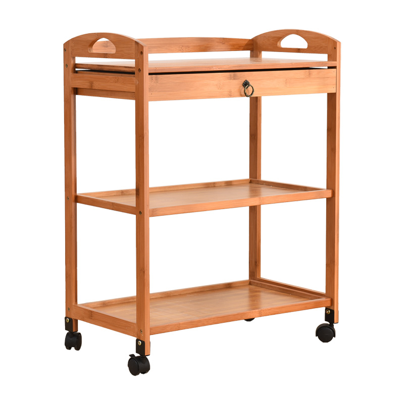 Retro Wooden Beauty Salon Cart Sturdy Barbershop Multi-function Trolley Household Shelf Movable Utility Cart With Drawer Trolley