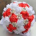 Cheap Flower Red White Ribbon Wedding Bouquet Popular Pearls Beaded Bridal Silk Bouquets Durable Stitch Bridesmaid Flowers W274