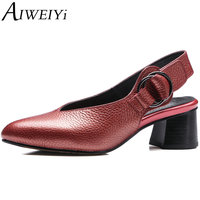 AIWEIYi Women S Pumps Genuine Leather Fashion Round Toe Buckle Strap Thick High Heels Shoes Woman