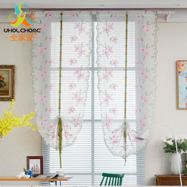 1PCS/Lot Floral Peach Blossom Roman Curtains Tulle Pastoral Voile Panel For  The Kitchen Window