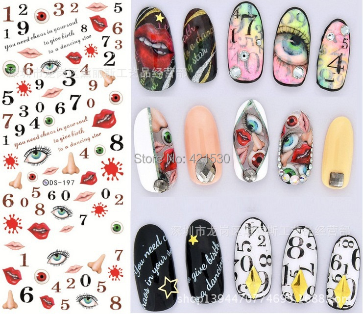 harajuku korean 3d nail patch art halloween nail wraps stickers water transfer cartoon nail decals ocean fish design ds196 208in stickers u0026 decals from
