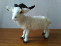 plastic&real furs sheep model large 24x7x22cm goat handicraft prop home decoration gift d2323