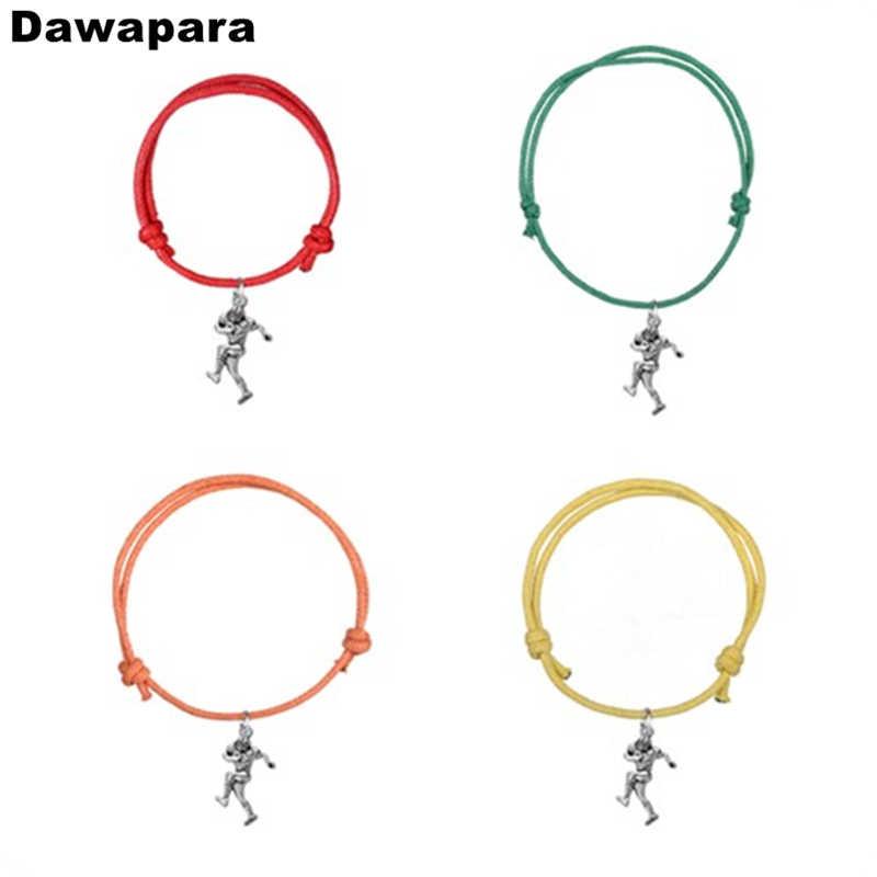 Dawapara עתיק כסף מצופה כדורגל נגן סגסוגת תליון קסם צמיד בעבודת יד מתכוונן שרשרת צמיד תכשיטים אופנתיים