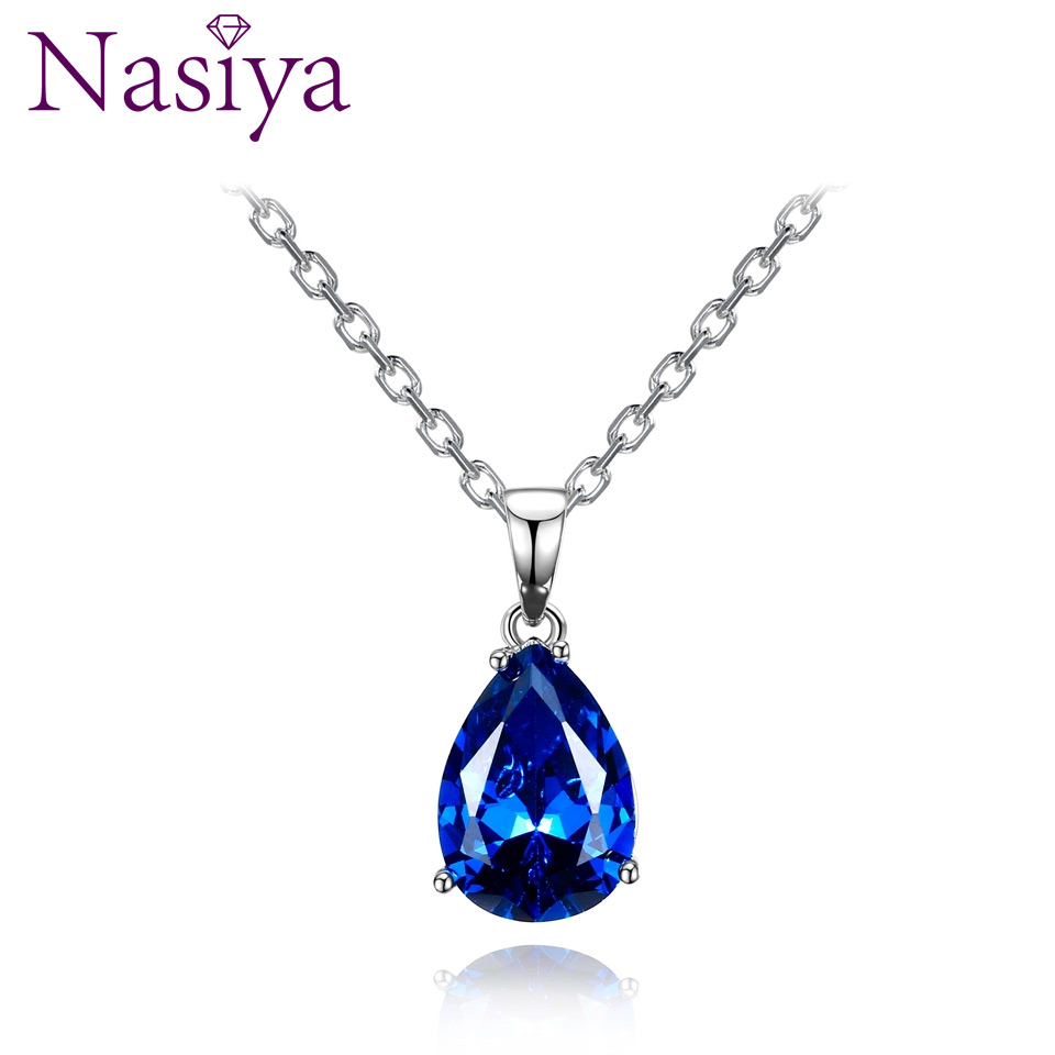 Nasiya Women's Sterling Silver 925 Necklaces Pendants Aquamarine Blue Sapphire Water Drop Gemstone Party Wedding Jewelry Gift