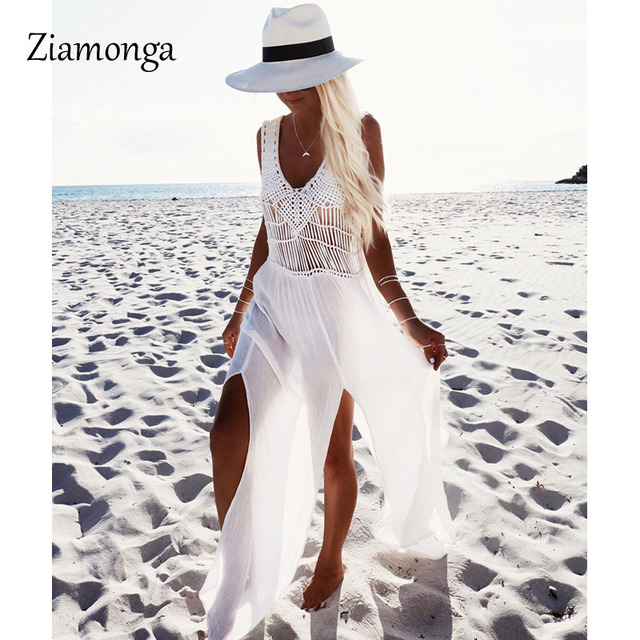 Ziamonga White See Through Beach Casual Dress Floor Length Y Bohemian Shirt Style High