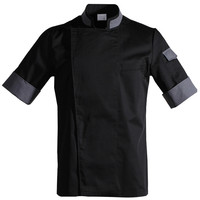 Poly Cotton Short Sleeve Shirt Hotel Restaurant Chef Kitchen Waitstaff Uniform Hospitality Bistro Bakery Bartender Work Wear D63