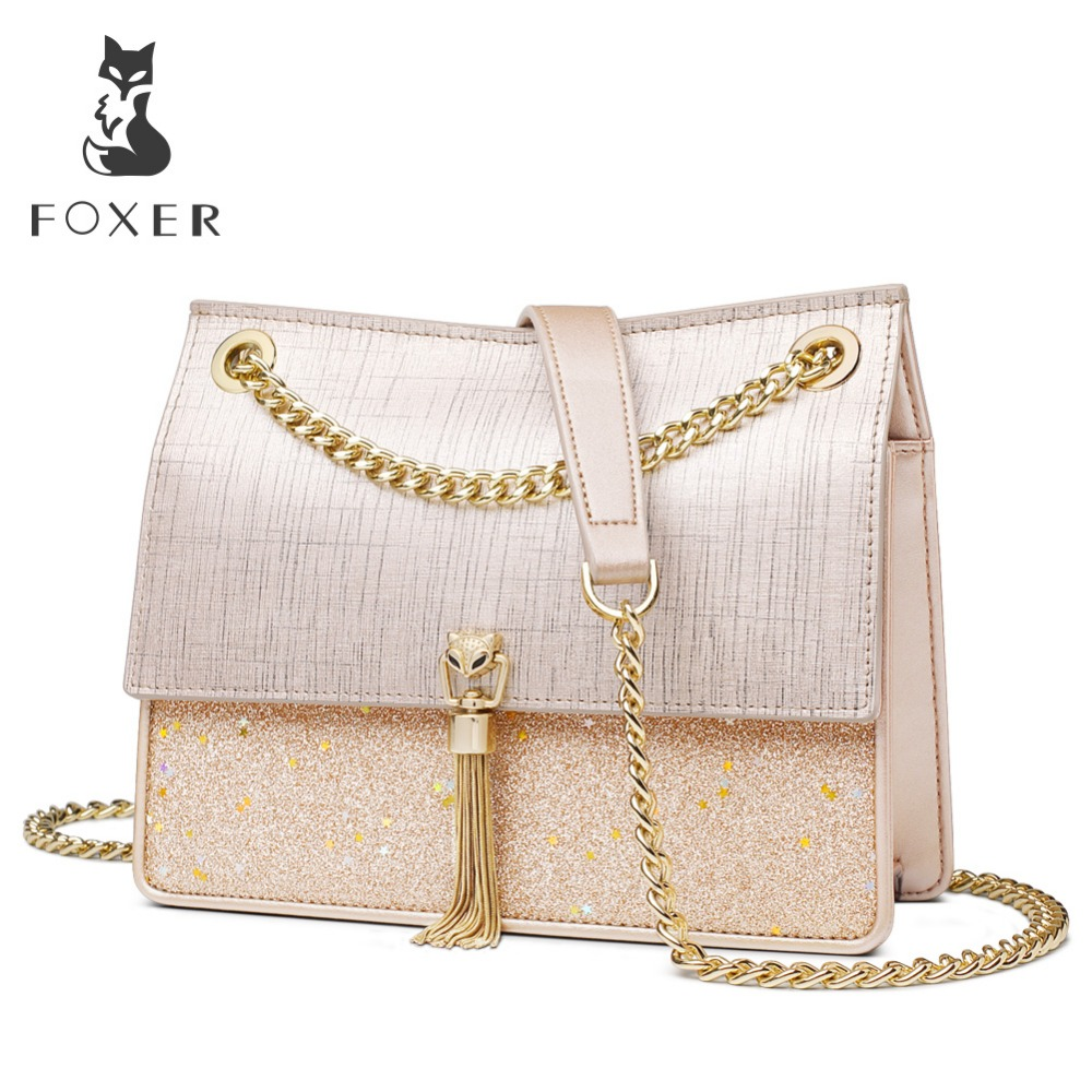FOXER Brand Small Flap Bag Women Temperament Crossbody Bags Shoulder Bag Female Solid High Quality Messenger Bag for Lady in Shoulder Bags from Luggage Bags