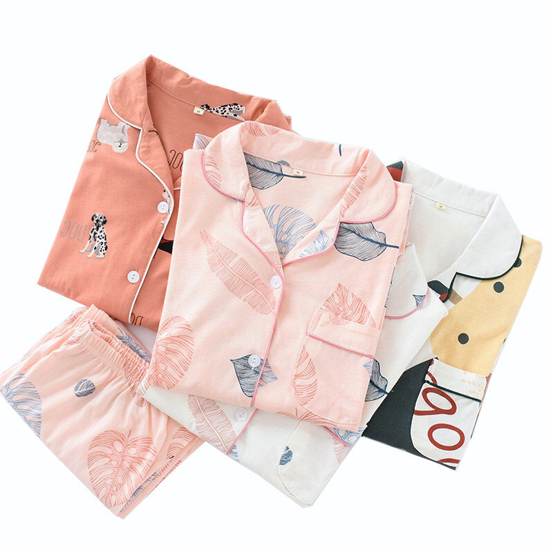 Spring New Cotton Pyjama Women Large-size Household Clothing Knitted Sleepwear Female Simple Style Long-sleeve+Pants Elastic Set
