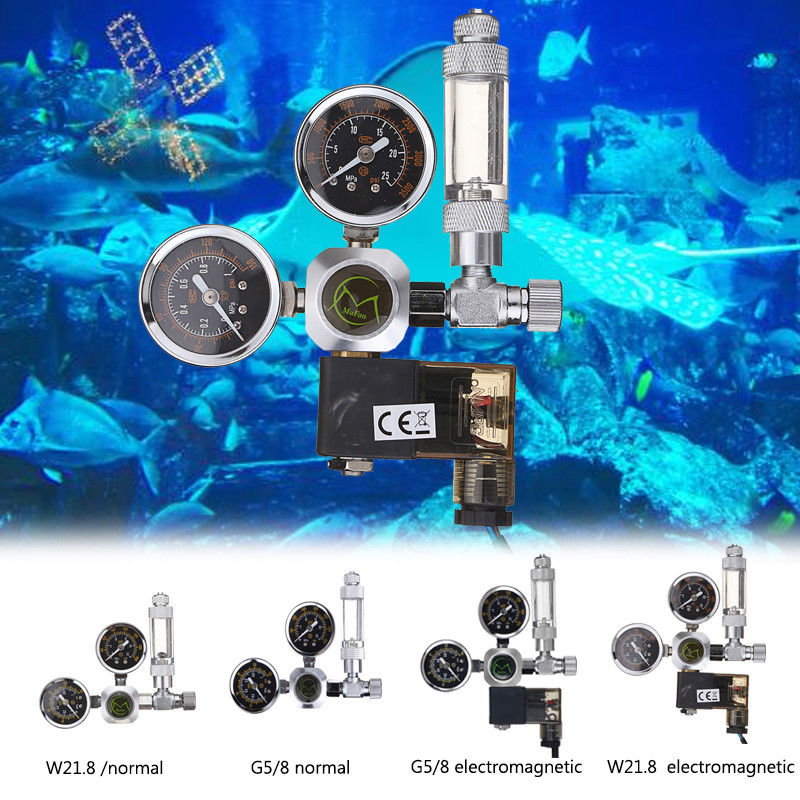 Aquarium Double Guage CO2 Regulator Magnetic Solenoid Check Valve With Bubble Counter G58 W21 8 Threaded