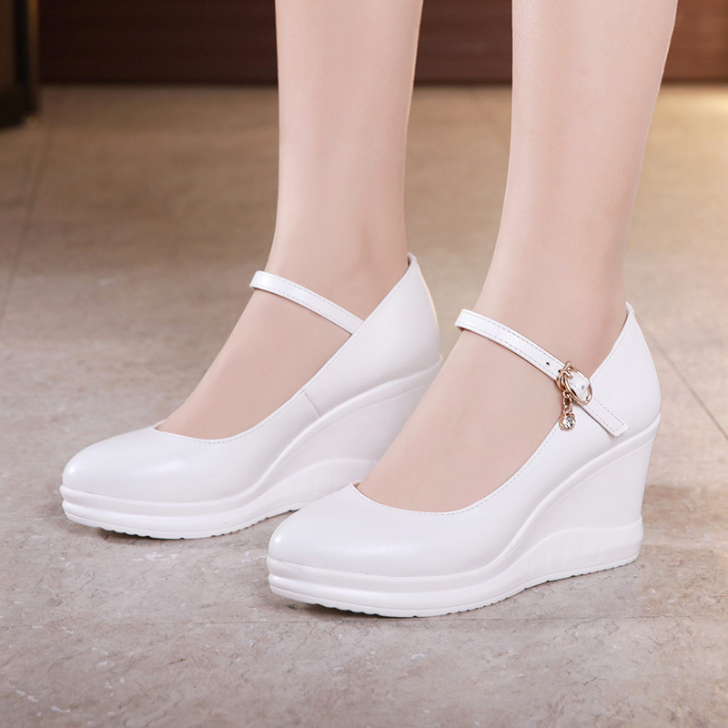 New Black White Platform Shoes Wedge High Heels Buckle Crystal Women's Pumps Mary Janes Wedding Shoes Bride Split Leather Shoes