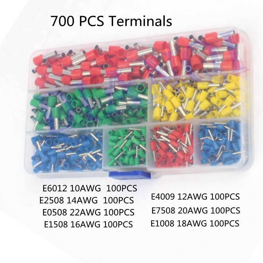 700pcs/set 22-10AWG Wire Copper Crimp Connector Insulated Insulated Cord End Cable Wire Terminal Kit DIY brass DIANQI 800pcs cable bootlace copper ferrules kit set wire electrical crimp connector insulated cord pin end terminal hand repair kit