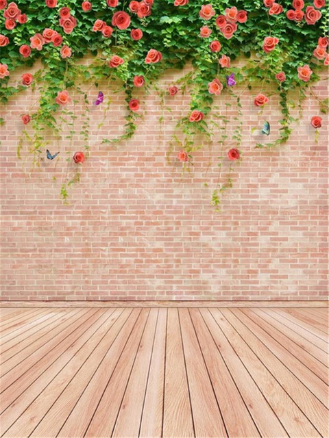 Brick Wall Wedding Photography Backdrop Spring Flowers Green Leaves