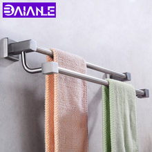 Towel Holder Bathroom Towel Rack Stainless Steel Towel Rail Hanger Double Bar Wall Mounted Shower Robe Shelf Bathroom Hardware недорго, оригинальная цена
