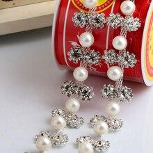 1Yard  Fashion Rhinestone Trim Bridal Pearl Crystal Trimming Applique Sew On Accessories For Wedding Dress