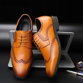 7a00b79e Zapatos de vestir de marca de lujo para hombre Zapatos de brogue de cuero  genuino hombres