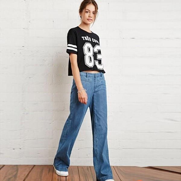 ФОТО  Alishebuy New Fashion Women Casual Regular Fit Straight Leg Straight Jeans Long Trousers