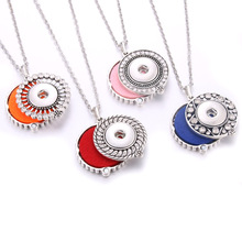 New Snap Jewelry Necklaces Rhinestone Aroma Perfume Aromatherapy Diffuser Locket Pendant Necklace Fit 18mm Button