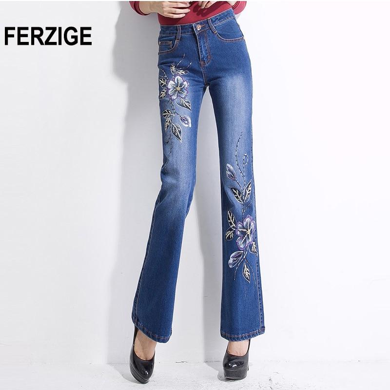 FERZIGE Womens Jeans Embroidered Flares Manual Beading Stretch Slim Fit Luxurious Denim Pants Woman Elegant Lady Big Size Femme