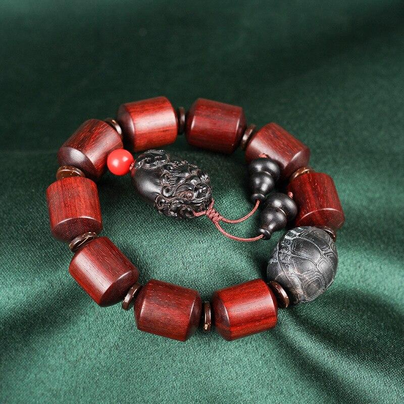 Mr Lou original lobular rojo barril de madera de sándalo cuenta alto aceite antiguo material organizar grano de rosa de Venus círculo único Cordón de cuentas - 4