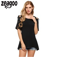 Zeagoo Women O Neck Short Sleeve Cold Shoulder Lace Up Solid Asymmetrical Hem T Shirt 2017