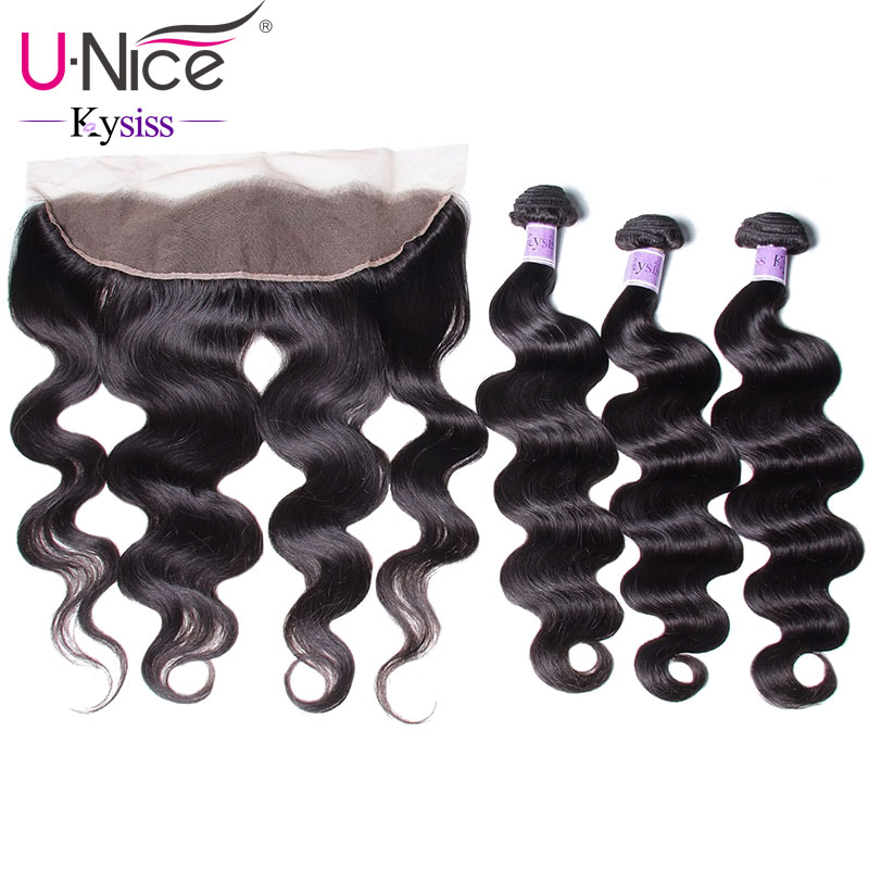 UNice Hair Kysiss Series 8A Body Wave Peruvian Hair Lace Frontal Closure With Bundles 4 PCS