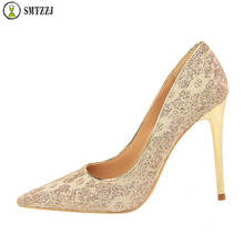 Luxury Silver Gold Lace Embroider Floral Elegant Women Wedding Pumps Shoes Pointed Sweet High Heels Scarpins Plus Size