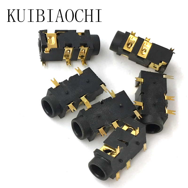 20pcs/lot gold-plated phone <font><b>Jack</b></font> Diameter <font><b>3</b></font>.5mm <font><b>5</b></font> pin audio socket for <font><b>3</b></font> poles earphone plug SMD type image