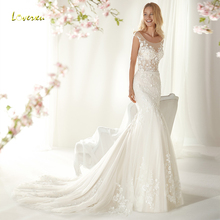 Loverxu Mermaid Wedding Dress Cap Sleeve Bride Dress