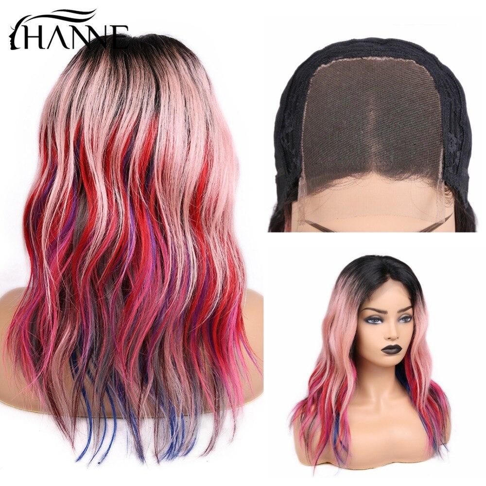 HANNE косплей красный розовый многоцветный цвет радуги вечерние парик их натуральных волос парики 4*4 закрытие парик прямые Омбре парики для ж
